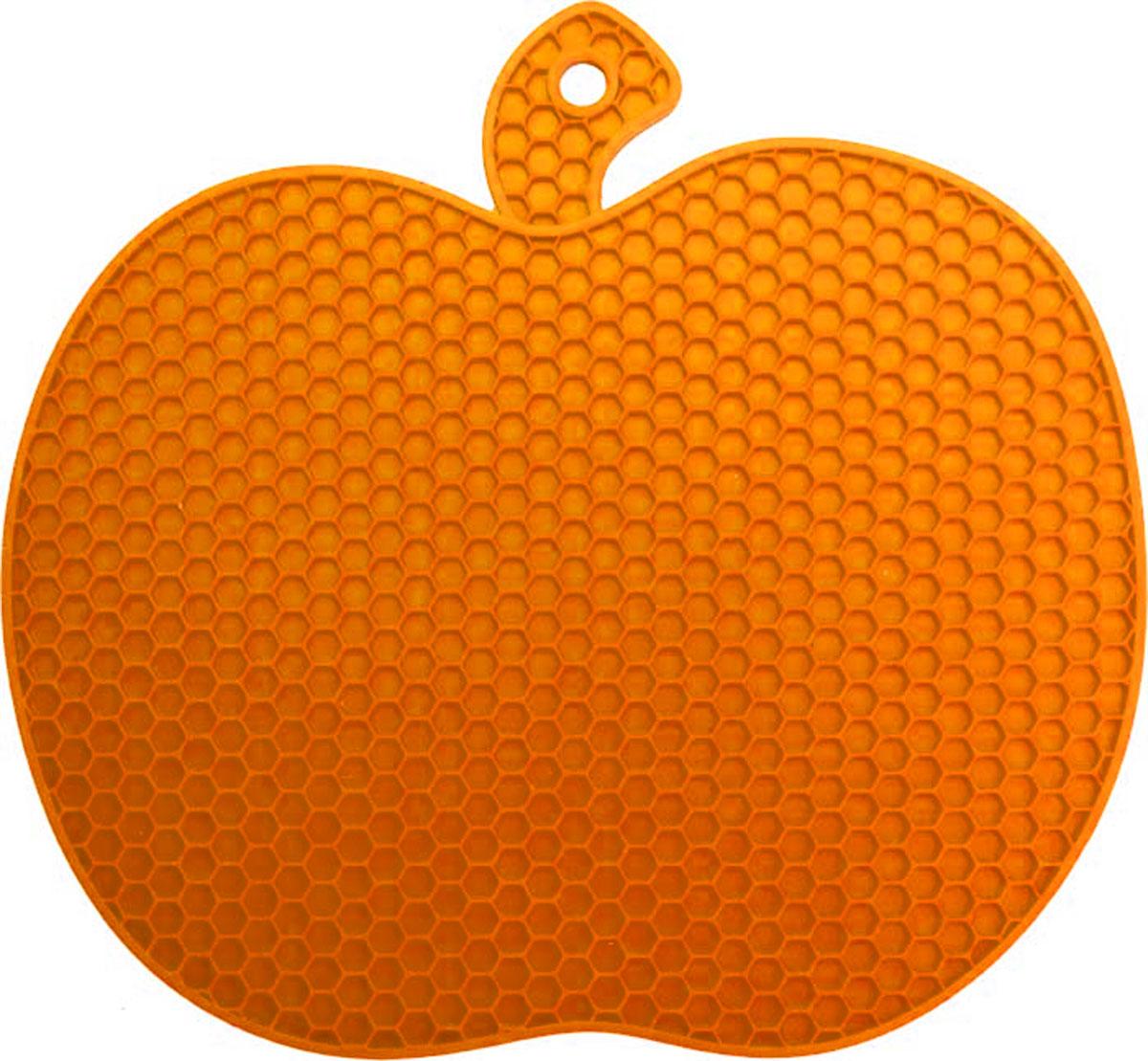 Подставка под горячее Marmiton Яблоко, силиконовая, цвет: оранжевый, 19 х 18 х 0,6 см12134_оранжевыйПодставка под горячее Marmiton Яблоко станет забавным украшением вашей кухни. Подставка изготовлена из силикона, что позволяет ей выдерживать высокие температуры и не поцарапать поверхность стола. Силикон устойчив к фруктовым кислотам, обладает естественным антипригарным свойством Такая подставка придется по вкусу человеку, ценящему практичные и оригинальные вещи. Можно мыть и сушить в посудомоечной машине. Размер подставки: 19 х 18 х 0,6 см.