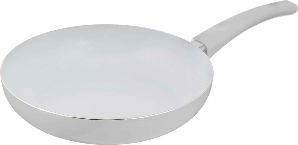 Сковорода Calve, с керамическим покрытием. Диаметр 26 смCL-1930_серыйСковорода Calve выполнена из высококачественного алюминия с керамическим покрытием, благодаря чему пища не пригорает и не прилипает во время готовки. А также изделие имеет внешнее элегантное жаростойкое покрытие. Сковорода оснащена удобной бакелитовой ручкой с отверстием для подвешивания. Подходит для всех типов плит, кроме индукционных. Можно мыть в посудомоечной машине. Диаметр сковороды (по верхнему краю): 26 см. Высота стенки: 5,7 см. Длина ручки: 19 см. Диаметр основания: 19 см. Толщина стенок: 2,5 мм. Толщина дна: 4 мм.