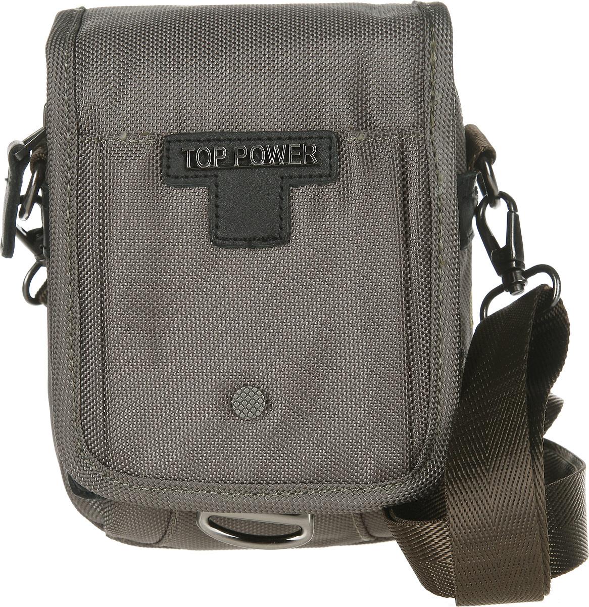 Сумка-планшет мужская Top Power, цвет: хаки. 6011 TP6011 TP khakiУдобная сумка-планшет Top Power изготовлена из нейлона, оформлена металлической фурнитурой и символикой бренда. Изделие содержит одно основное отделение, которое закрывается на молнию и дополнительно клапаном на магнитную кнопку. Внутри расположены два накладных кармана, один из которых сетчатый. На лицевой стороне, под клапаном, расположен накладной карман на молнии. Сам клапан дополнен накладным карманом, который закрывается на липучку. На задней стороне сумки расположено крепление для фиксации изделия на поясе. Сумка оснащена съемным наплечным ремнем регулируемой длины. Практичный мужской аксессуар прекрасно дополнит образ и подчеркнет ваш деловой стиль.