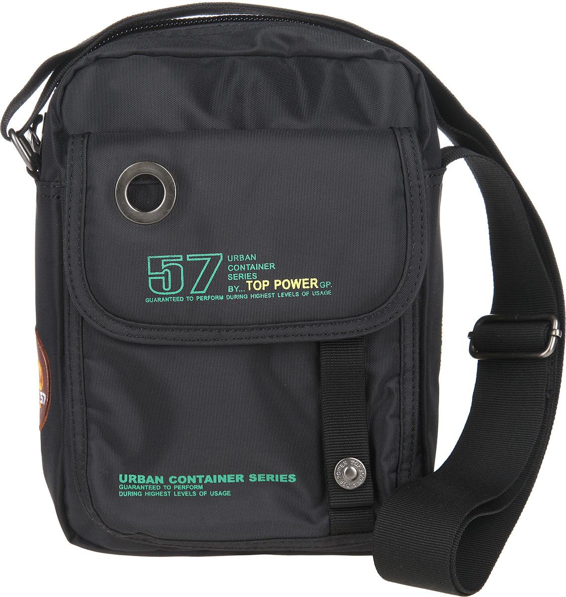 Сумка-планшет мужская Top Power, цвет: черный. 269 TP269 TP blackУдобная сумка-планшет Top Power изготовлена из полиэстера, оформлена металлической фурнитурой и символикой бренда. Изделие содержит одно основное отделение, которое закрывается на молнию. Внутри расположен врезной карман на молнии. Снаружи, на лицевой стороне изделия расположен накладной карман, закрывающийся клапаном на липучку. На задней стороне сумки расположен врезной карман на молнии. Сумка оснащена наплечным ремнем регулируемой длины. Практичный аксессуар прекрасно дополнит образ и подчеркнет ваш деловой стиль.