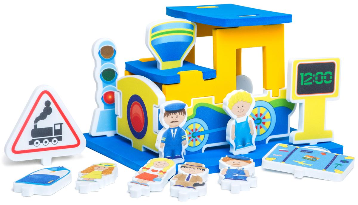 PicnMix Мягкий конструктор Паровозик114002Игра-конструктор из материала ЭВА подходит как для игр в комнате, так и в ванной. В комплект входит инструкция-методическое пособие со сценарием проведения игры, при помощи взрослого ребенок собирает из нескольких деталей конструкцию Паровоза и устанавливает на подставке те фигурки, которые соответствуют игровому сюжету. В процессе игры ребенок тренирует: мелкую моторику рук, память, пространственное воображение, развивает речевое общение. УВАЖАЕМЫЕ КЛИЕНТЫ! Обращаем ваше внимание на допустимые незначительные изменения в цветовом дизайне товара - некоторые детали могут отличаться по цвету от товара, изображенного на фотографии.