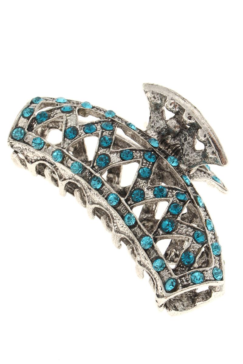 Заколка-краб Migura, цвет: серебряный, голубой. NOBZ1040