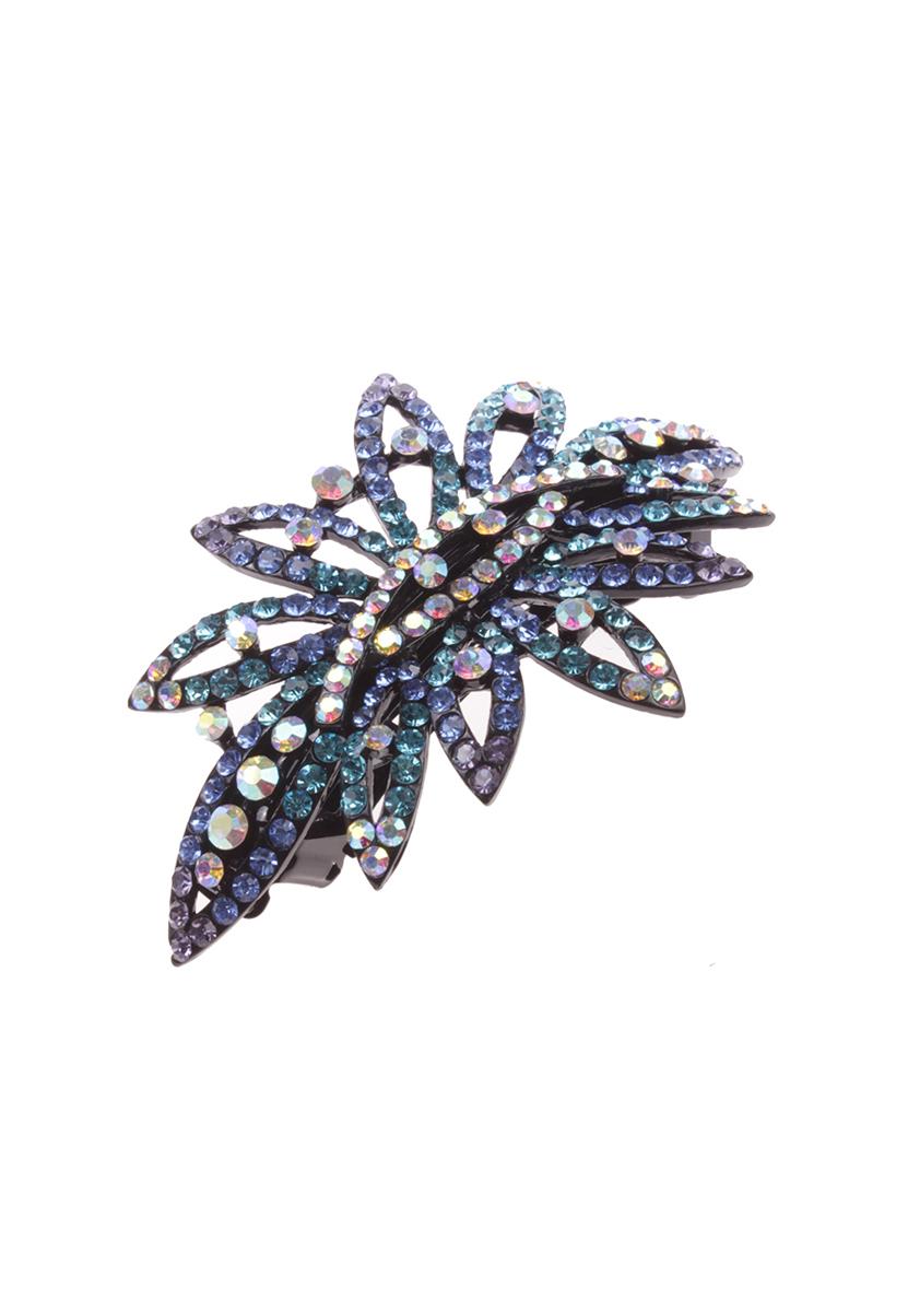 Заколка для волос Migura, цвет: голубой, черный. NOCA0034NOCA0034Оригинальная заколка Migura с автоматическим зажимом, выполненная из гипоаллергенного металлического сплава и декорированная стразами различных цветов, подчеркнет красоту вашей прически. Красивое и необычное украшение блестяще подчеркнет изысканный вкус, женственность и красоту своей обладательницы, а также поможет внести разнообразие в привычный образ.