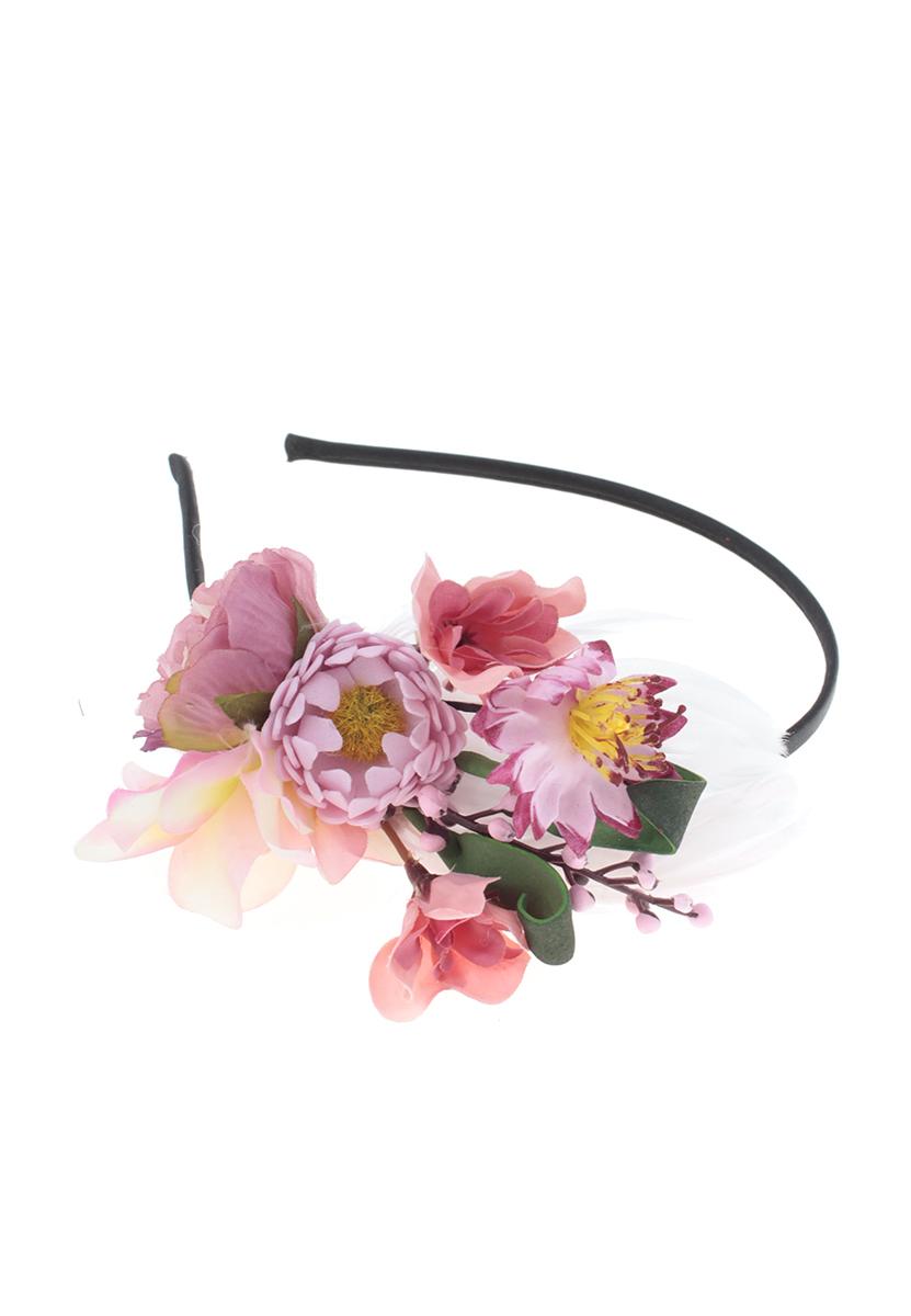 Ободок Migura, цвет: черный, розовый, фиолетовый. NOD0023NOD0023Ободок Migura выполнен из металла, обтянут текстилем и дополнен декоративным элементом в виде нежной цветочной композиции. Ободок позволяет не только убрать непослушные волосы со лба, но и придать вашему образу романтичности и очарования. Правильно подобранный к цветовой гамме одежды, ободок сделает вас стильной, женственной и подчеркнет красивые черты вашего лица.