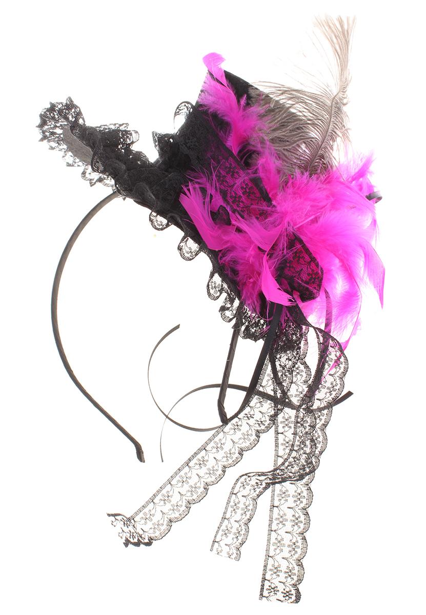 Ободок Migura, цвет: черный, розовый. NOL0001NOL0001Ободок Migura выполнен из металла и дополнен декоративным элементом в виде шляпки, декорированной пером и кружевом. Ободок позволяет не только убрать непослушные волосы со лба, но и придать вашему образу романтичности и очарования. Правильно подобранный к цветовой гамме одежды, ободок сделает вас стильной и женственной и подчеркнет красивые черты вашего лица.
