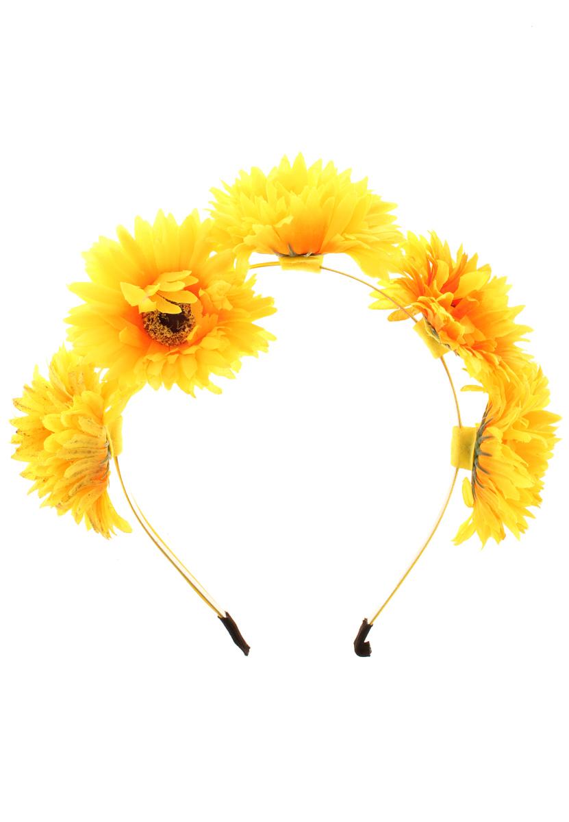 Ободок Migura, цвет: желтый, оранжевый. NOL0004NOL0004Ободок Migura выполнен из металла и украшен очаровательными цветами из текстиля. Ободок позволяет не только убрать непослушные волосы со лба, но и придать вашему образу романтичности и очарования. Правильно подобранный к цветовой гамме одежды, ободок сделает вас стильной и женственной и подчеркнет красивые черты вашего лица.