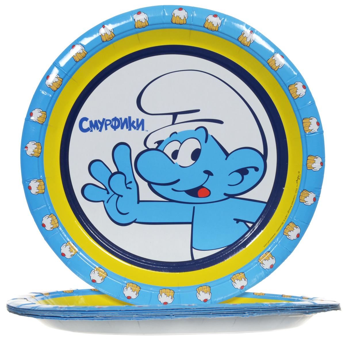 Смурфики Набор одноразовых тарелок цвет голубой 10 шт23651Одноразовые тарелки прочно вошли в современную жизнь, и теперь многие люди просто не представляют праздник или пикник без таких нужных вещей: они почти невесомы, не могут разбиться и не нуждаются в мытье. Выполненные из картона одноразовые тарелки Смурфики являются экологически чистыми, поэтому не наносят вреда здоровью. Благодаря глянцевому ламинированию, они прекрасно справляются со своей задачей: удерживают еду, не промокают и не протекают. В наборе 10 тарелок.