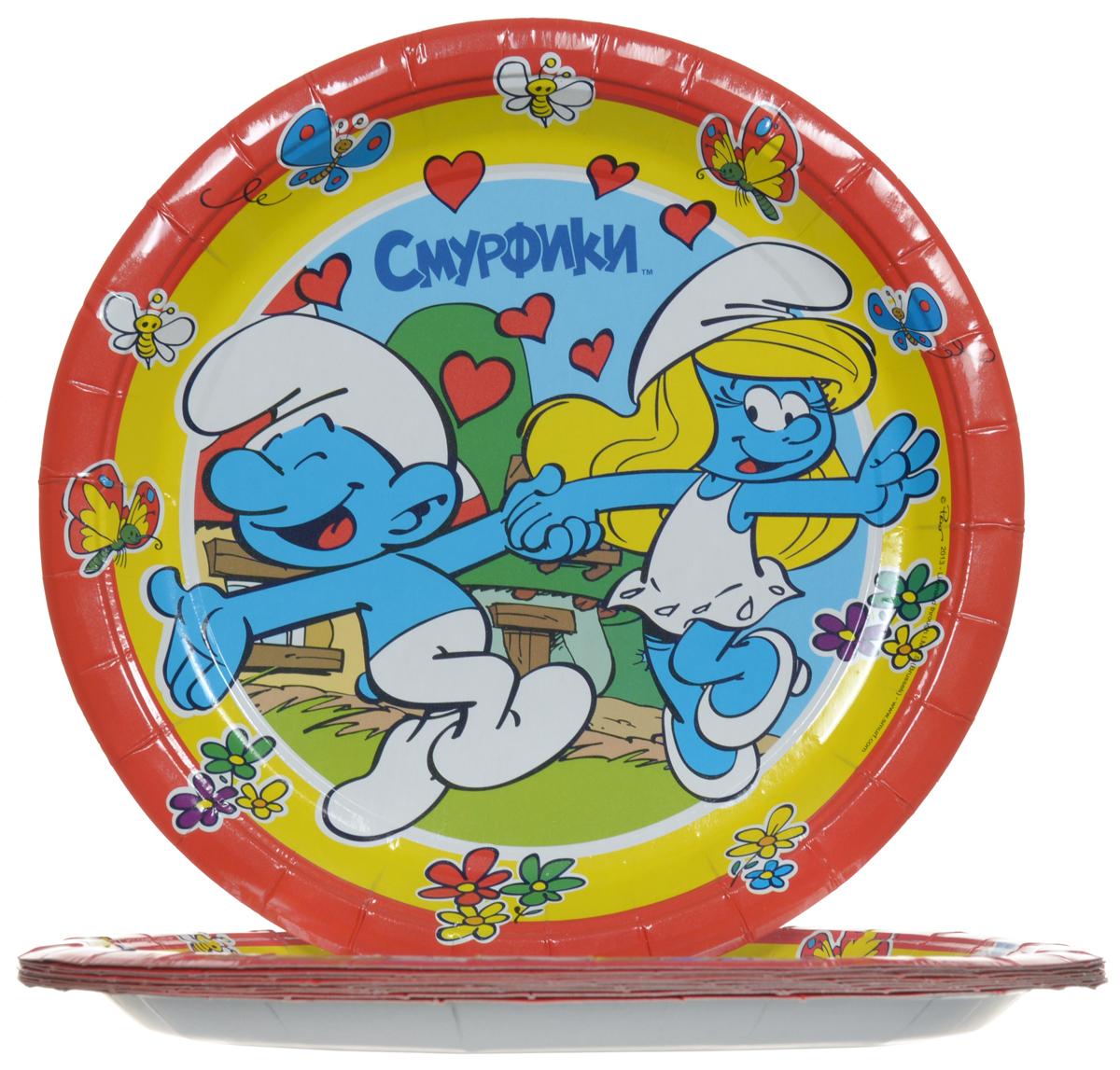 Смурфики Набор одноразовых тарелок цвет красный 10 шт
