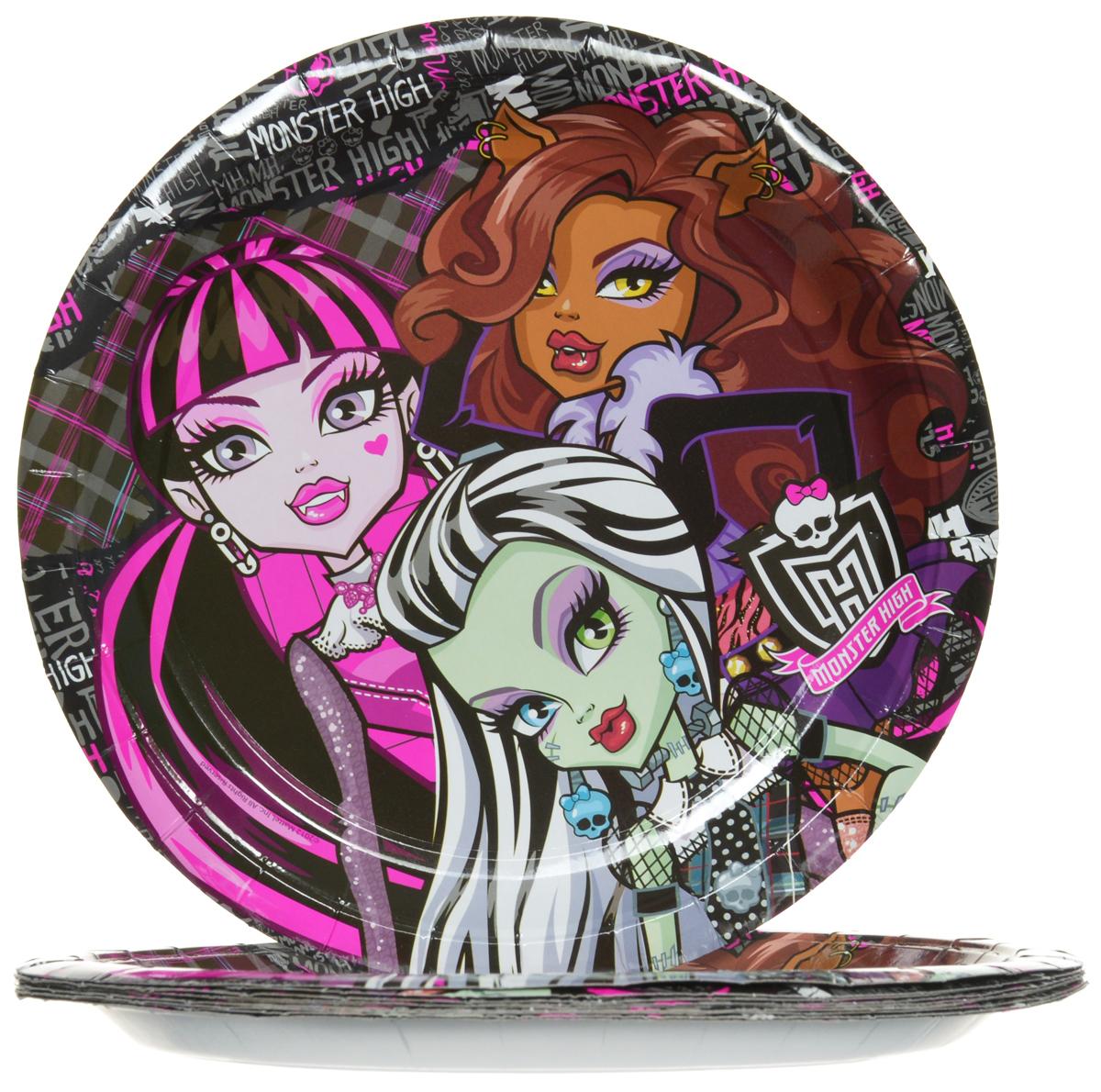 Monster High Набор одноразовых тарелок диаметр 23 см 10 шт23655Одноразовые тарелки прочно вошли в современную жизнь, и теперь многие люди просто не представляют праздник или пикник без таких нужных вещей: они почти невесомы, не могут разбиться и не нуждаются в мытье. Набор одноразовых тарелок Monster High состоит из 10 круглых тарелок диаметром 23 см, выполненных из картона. Изделия декорированы изображением монстров Хай. Благодаря глянцевому ламинированию, они прекрасно справляются со своей задачей: удерживают еду, не промокают и не протекают.