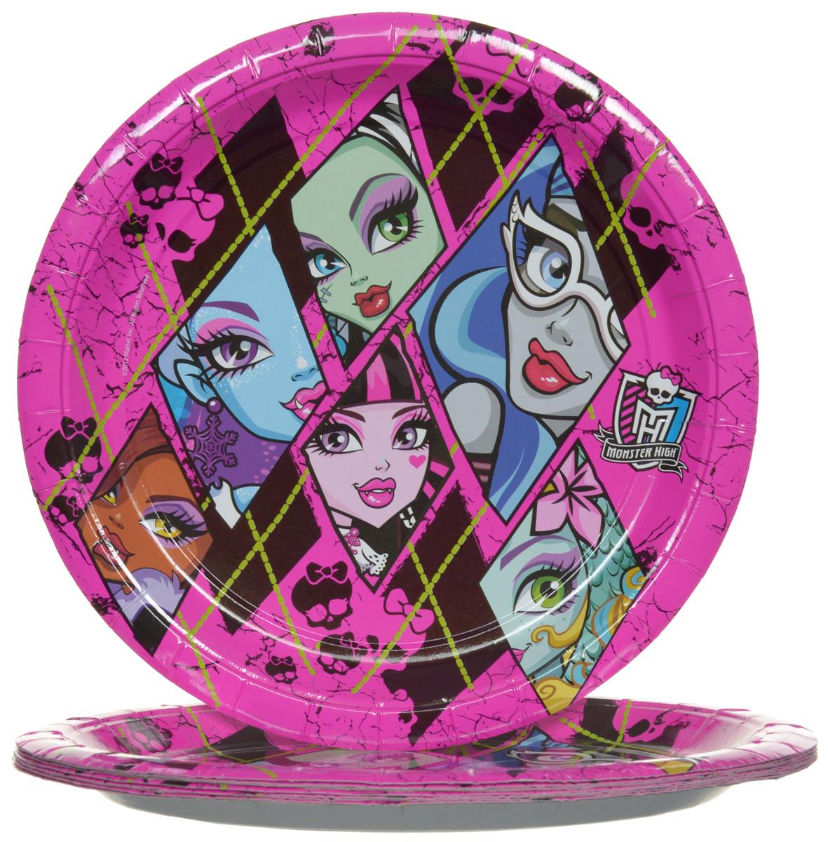 Monster High Набор одноразовых тарелок цвет розовый 10 шт23656Одноразовые тарелки прочно вошли в современную жизнь, и теперь многие люди просто не представляют праздник или пикник без таких нужных вещей: они почти невесомы, не могут разбиться и не нуждаются в мытье. Набор одноразовых тарелок Monster High состоит из 10 круглых тарелок диаметром 23 см, выполненных из картона. Изделия декорированы изображением монстров Хай. Благодаря глянцевому ламинированию, они прекрасно справляются со своей задачей: удерживают еду, не промокают и не протекают.