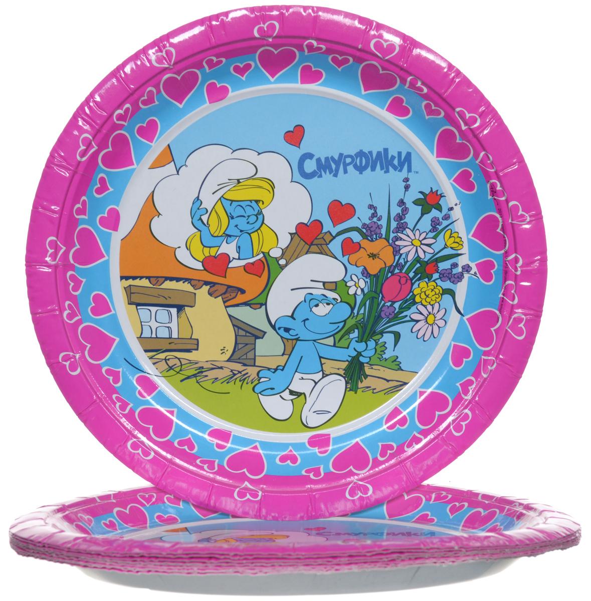 Смурфики Набор одноразовых тарелок цвет розовый 10 шт 2364423644Одноразовые тарелки прочно вошли в современную жизнь, и теперь многие люди просто не представляют праздник или пикник без таких нужных вещей: они почти невесомы, не могут разбиться и не нуждаются в мытье. Выполненные из картона одноразовые тарелки Смурфики являются экологически чистыми, поэтому не наносят вреда здоровью. Благодаря глянцевому ламинированию, они прекрасно справляются со своей задачей: удерживают еду, не промокают и не протекают. В наборе 10 тарелок.