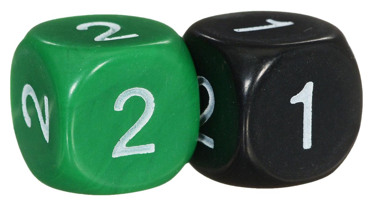 Koplow Games Набор игральных костей Простые D2 цвет зеленый черный 2 шт13497_зеленый,черныйНабор игральных костей Koplow Games Простые D2  предназначен для настольных игр. Набор состоит из двух шестигранных костей. На три грани кубика нанесено число 1, на три - число 2. Целью кубика является демонстрация случайно определенного числа, каждое из которых является равновозможным благодаря правильной геометрической форме. Игральные кости выполнены из прочного пластика.