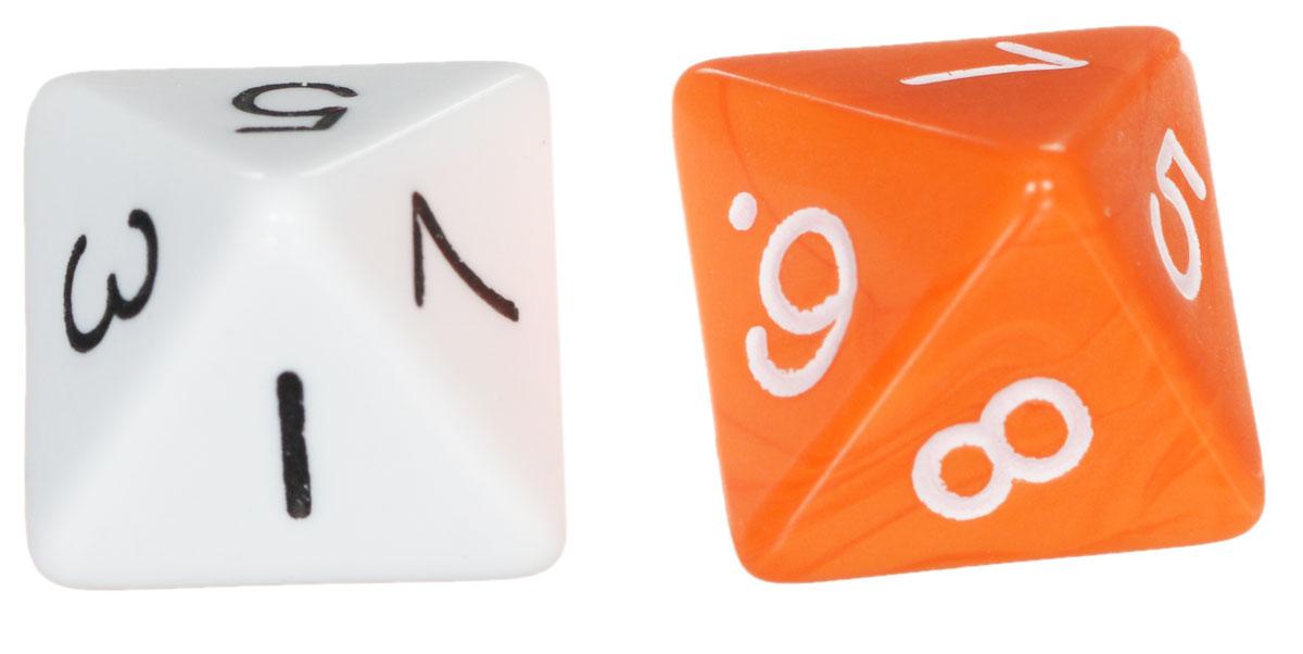 Koplow Games Набор игральных костей Простые D8 оранжевый белый 2 шт2547_оранжевый, белыйНабор игральных костей Koplow Games Простые D8 предназначен для настольных игр. Набор состоит из двух восьмигранных костей. На каждую треугольную грань игральной кости нанесены числа от 1 до 8. Целью игральной кости является демонстрация случайно определенного числа, каждое из которых является равновозможным благодаря правильной геометрической форме. Игральные кости выполнены из прочного пластика.