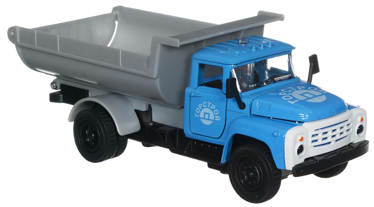 ТехноПарк Модель автомобиля ЗИЛ 130 Горстрой цвет голубойCT11-271-1+2_голубойМодель автомобиля ТехноПарк ЗИЛ 130. Горстрой, выполненная из металла, пластика и резины, станет любимой игрушкой вашего малыша. Игрушка представляет собой модель грузовика ЗИЛ 130 Горстроя в масштабе 1:43. Дверцы модели и капот открываются, кузов поднимается, а прорезиненные колеса обеспечивают надежное сцепление с любой поверхностью пола. При нажатии на кнопку на крыше кабины светятся фары и слышен звук работающего двигателя. Модель оснащена инерционным ходом: достаточно немного отвести ее назад, а затем отпустить - машинка быстро поедет вперед. Ваш ребенок будет часами играть с этой машинкой, придумывая различные истории. Порадуйте его таким замечательным подарком! Для работы машинки рекомендуется докупить 3 батарейки типа LR41 (товар комплектуется демонстрационными).