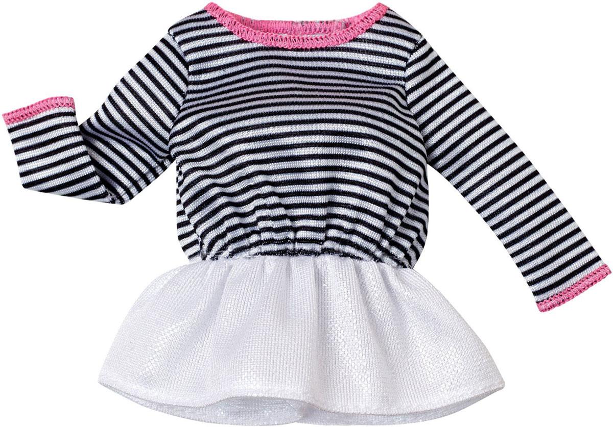 Barbie Одежда для кукол Платье цвет белый черныйCFX73_DHH44Когда возможности безграничны, гардероб должен быть таким же! В этом стильном полосатом платье Барби (продается отдельно) будет неотразима с утра до вечера. Платье дополнено воланами, застегивается сзади на липучку. Если собрать всю коллекцию одежды для куклы Барби, можно будет подобрать наряды для самых разных сюжетов! Одежда подходит для большинства кукол Барби.