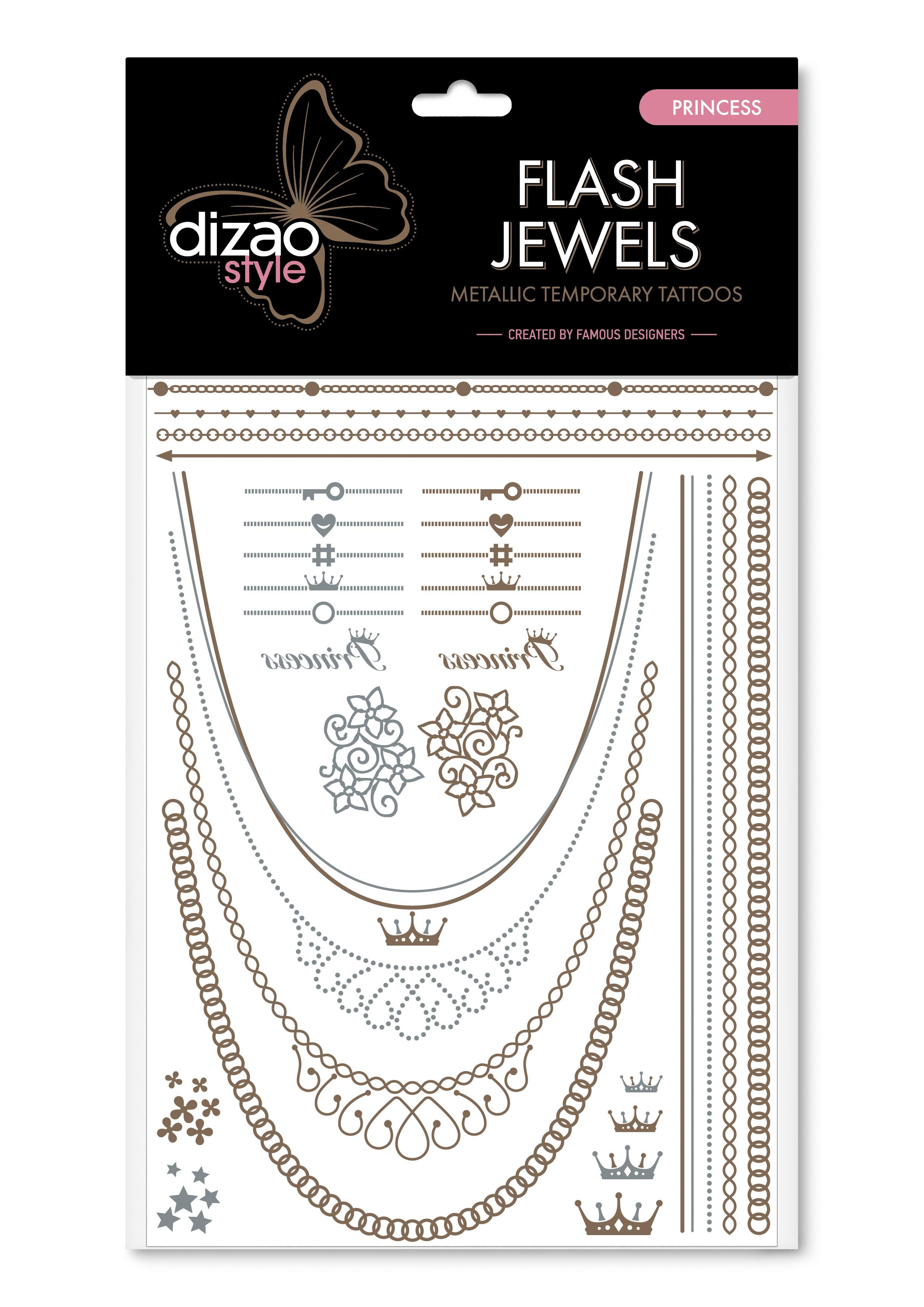 Dizao Временные золотые тату Flash Jewels: Принцесса5292452002496Оригинальные золотистые временные татуировки Dizao Flash Jewels: Принцесса позволят вам добавить изысканный штрих к вашему образу. В набор входит множество разнообразных дизайнов, которые вы сможете сочетать по своему вкусу. Откройте для себя мир идеальных линий и оригинальных дизайнов, которые заблистают на вашей коже благородным блеском золота и серебра. Позвольте украшениям стать органичной частью вашего тела. Следуйте самым последним тенденциям и всегда оставайтесь на пике моды. Подарите себе роскошь и непревзойденный стиль с тату Dizao. Премиальные золотые временные тату Flash Jewels: - имеют уникальные дизайны -держатся на коже продолжительное время, не теряя привлекательности -легко наносятся и удаляются -не вызывают покраснений и раздражений, не содержат токсичных компонентов Применять временные тату невероятно легко: вырежьте понравившуюся аппликацию, наложите ее рисунком вниз на сухую чистую кожу, прижмите к аппликации мокрую губку или...