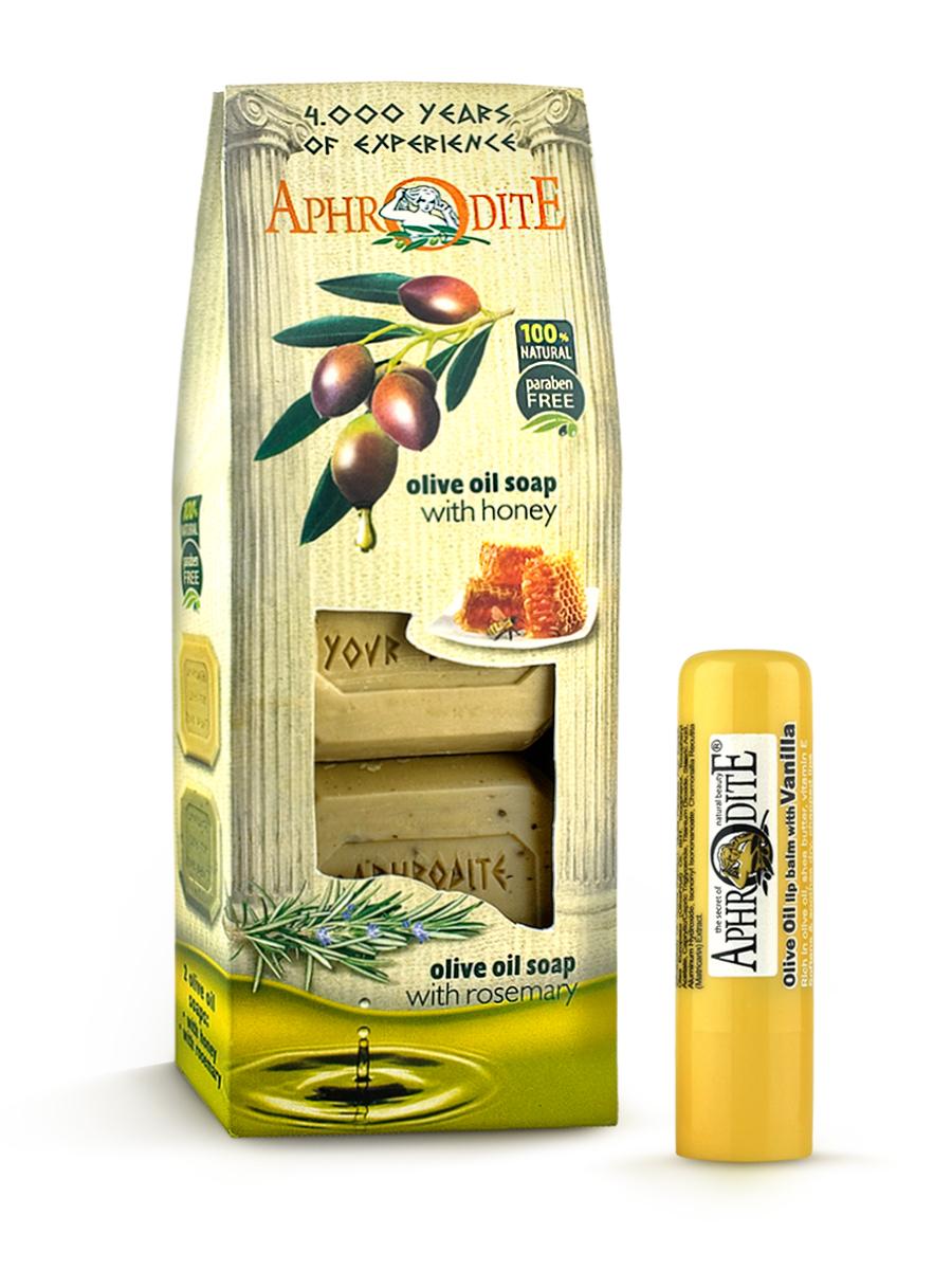 AphrOdite Косметический набор: оливковое мыло мед/ваниль/розмарин 220 г + гигиеническая помада с ванилью 4 мл