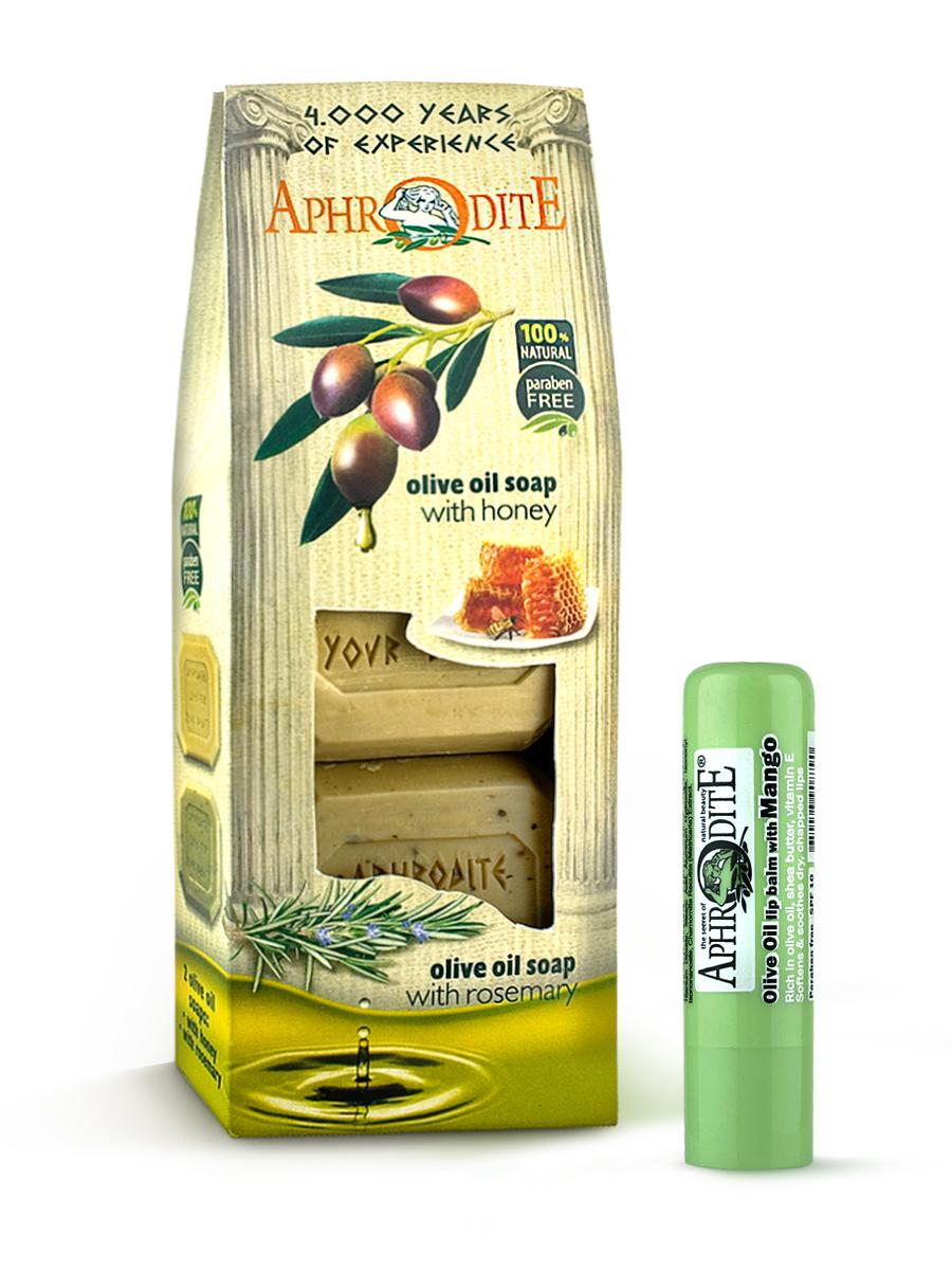 AphrOdite Косметический набор: оливковое мыло мед/ваниль/розмарин 220 г + гигиеническая помада с манго 4 млZ-4A+Z-47Набор сочетает в себе оливковое мыло для двух разных типов кожи: жирной и сухой. Обладающее антисептическими свойствами мыло с розмарином хорошо очистит жирную кожу, а нежное медовое быстро восполнит недостаток увлажнения сухой кожи. Гигиеническая помада изготовлена по оригинальным (с соблюдением всех традиций) технологиям из натуральных ингредиентов без химических добавок. Не содержит парабенов и животных жиров, не тестируется на животных. Гигиеническая помада с органическим оливковым маслом эффективно увлажняет и питает нежную кожу губ.