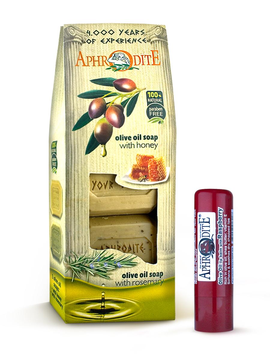 AphrOdite Косметический набор: оливковое мыло мед/ваниль/розмарин 220 г + гигиеническая помада с малиной 4 млZ-4A+Z-49Набор сочетает в себе оливковое мыло для двух разных типов кожи: жирной и сухой. Обладающее антисептическими свойствами мыло с розмарином хорошо очистит жирную кожу, а нежное медовое быстро восполнит недостаток увлажнения сухой кожи. Гигиеническая помада изготовлена по оригинальным (с соблюдением всех традиций) технологиям из натуральных ингредиентов без химических добавок. Не содержит парабенов и животных жиров, не тестируется на животных. Гигиеническая помада с органическим оливковым маслом эффективно увлажняет и питает нежную кожу губ.