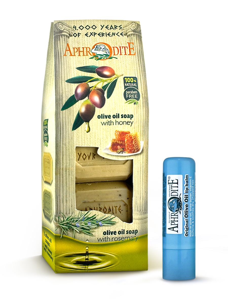 AphrOdite Косметический набор: оливковое мыло мед/ваниль/розмарин 220 г + гигиеническая помада 4 млZ-4A+Z-52Набор сочетает в себе оливковое мыло для двух разных типов кожи: жирной и сухой. Обладающее антисептическими свойствами мыло с розмарином хорошо очистит жирную кожу, а нежное медовое быстро восполнит недостаток увлажнения сухой кожи. Гигиеническая помада изготовлена по оригинальным (с соблюдением всех традиций) технологиям из натуральных ингредиентов без химических добавок. Не содержит парабенов и животных жиров, не тестируется на животных. Гигиеническая помада с органическим оливковым маслом эффективно увлажняет и питает нежную кожу губ.
