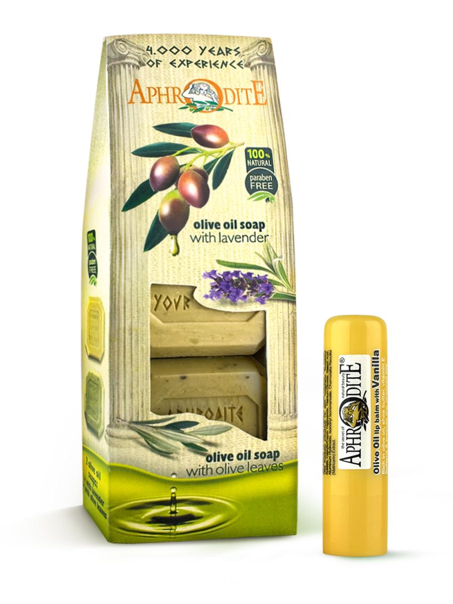 AphrOdite Косметический набор: оливковое мыло лаванда/розмарин 220 г + гигиеническая помада с ванилью 4 млZ-4B+Z-46Набор сочетает в себе оливковое мыло для двух разных типов кожи: жирной и сухой. Обладающее антисептическими свойствами мыло с розмарином хорошо очистит жирную кожу, а нежное медовое быстро восполнит недостаток увлажнения сухой кожи. Гигиеническая помада изготовлена по оригинальным (с соблюдением всех традиций) технологиям из натуральных ингредиентов без химических добавок. Не содержит парабенов и животных жиров, не тестируется на животных. Гигиеническая помада с органическим оливковым маслом эффективно увлажняет и питает нежную кожу губ.