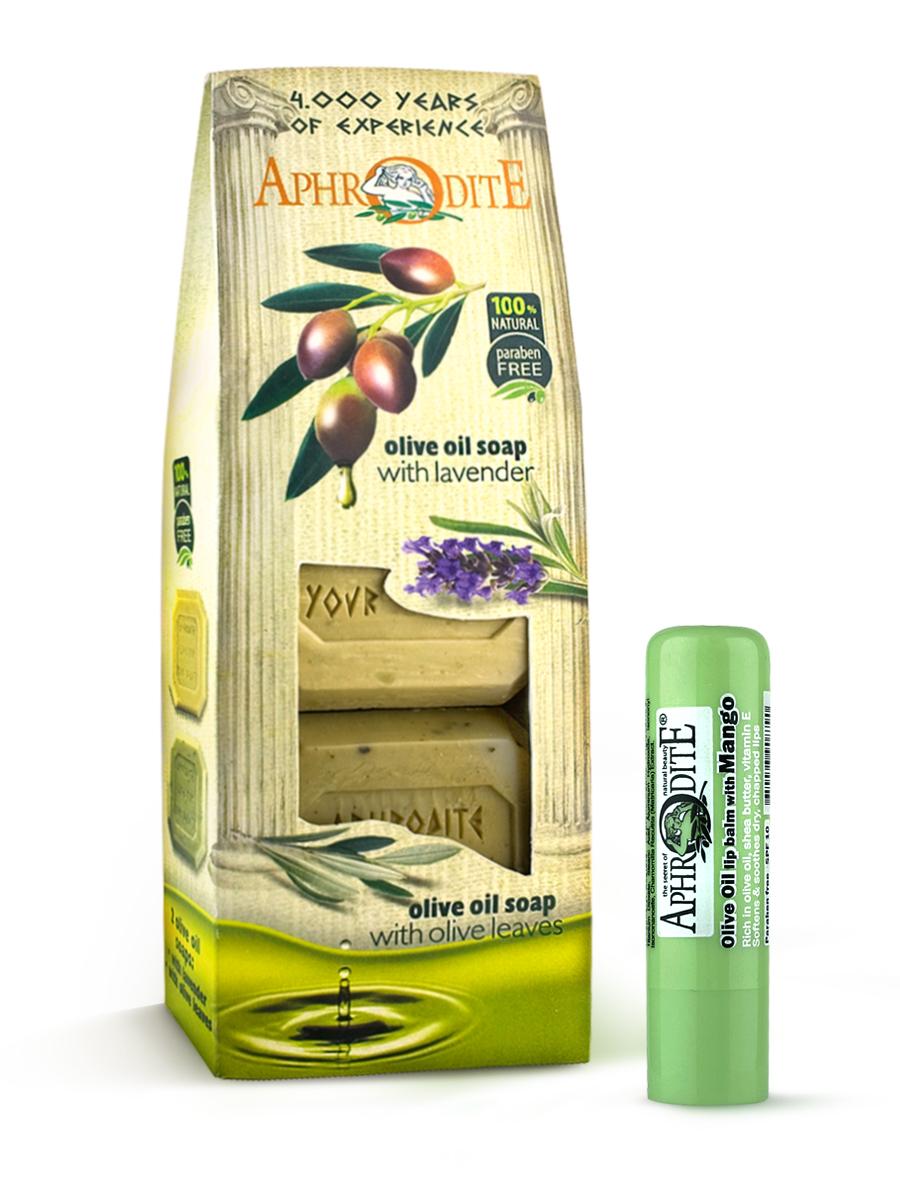 AphrOdite Косметический набор: оливковое мыло лаванда/розмарин 220 г + гигиеническая помада с манго 4 млZ-4B+Z-47Набор сочетает в себе оливковое мыло для двух разных типов кожи: жирной и сухой. Обладающее антисептическими свойствами мыло с розмарином хорошо очистит жирную кожу, а нежное медовое быстро восполнит недостаток увлажнения сухой кожи. Гигиеническая помада изготовлена по оригинальным (с соблюдением всех традиций) технологиям из натуральных ингредиентов без химических добавок. Не содержит парабенов и животных жиров, не тестируется на животных. Гигиеническая помада с органическим оливковым маслом эффективно увлажняет и питает нежную кожу губ.