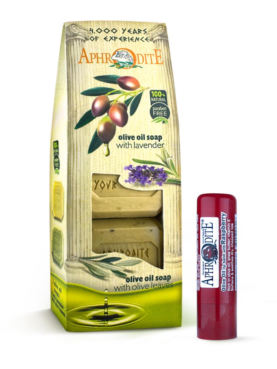 AphrOdite Косметический набор: оливковое мыло лаванда/розмарин 220 г + гигиеническая помада с малиной 4 млZ-4B+Z-49Набор сочетает в себе оливковое мыло для двух разных типов кожи: жирной и сухой. Обладающее антисептическими свойствами мыло с розмарином хорошо очистит жирную кожу, а нежное медовое быстро восполнит недостаток увлажнения сухой кожи. Гигиеническая помада изготовлена по оригинальным (с соблюдением всех традиций) технологиям из натуральных ингредиентов без химических добавок. Не содержит парабенов и животных жиров, не тестируется на животных. Гигиеническая помада с органическим оливковым маслом эффективно увлажняет и питает нежную кожу губ.