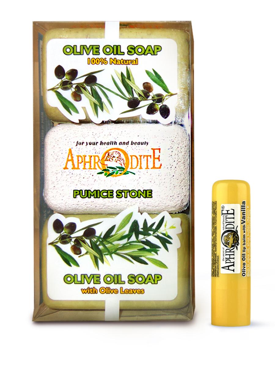 AphrOdite Косметический набор: оливковое мыло натуральное/ листья оливы 260 г + пемза + гигиеническая помада с ванилью 4 мл