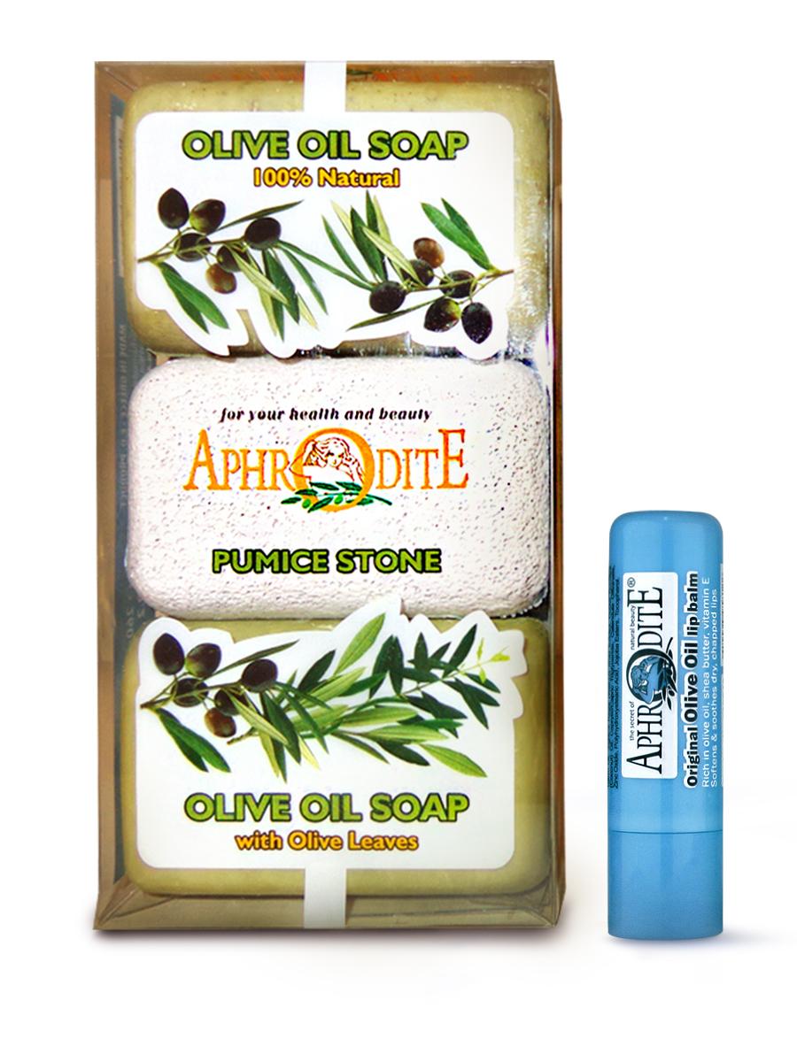 AphrOdite Косметический набор: оливковое мыло натуральное/ листья оливы 260 г + пемза + гигиеническая помада 4 мл
