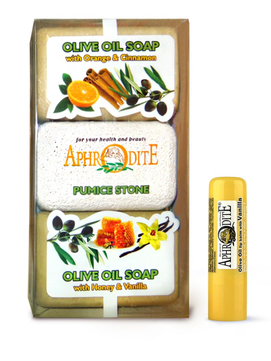 AphrOdite Косметический набор: оливковое мыло апельсин/корица/мед 260 г + пемза + гигиеническая помада с ванилью 4 млZ-57B+Z-46Комплект из двух кусков оливкового мыла: медового и апельсинового. Оба мыла великолепно увлажняют и питают кожу, а также обладают волшебными ароматами ванили и корицы. Оба мыла подходят для любого типа кожи, в том числе сухой. Гигиеническая помада изготовлена по оригинальным (с соблюдением всех традиций) технологиям из натуральных ингредиентов без химических добавок. Не содержит парабенов и животных жиров, не тестируется на животных.Гигиеническая помада с органическим оливковым маслом эффективно увлажняет и питает нежную кожу губ.