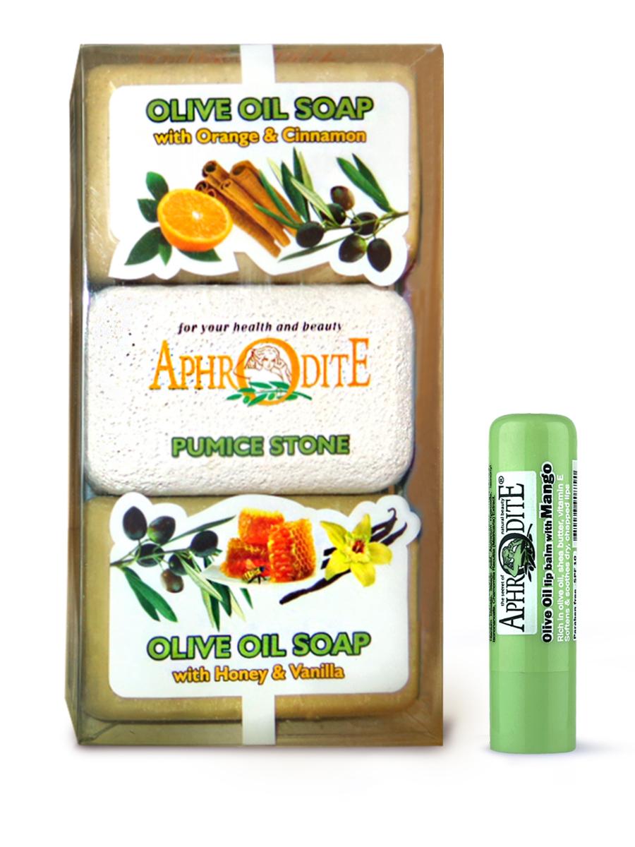 AphrOdite Косметический набор: оливковое мыло апельсин/корица/мед 260 г + пемза + гигиеническая помада с манго 4 млZ-57B+Z-47Комплект из двух кусков оливкового мыла: медового и апельсинового. Оба мыла великолепно увлажняют и питают кожу, а также обладают волшебными ароматами ванили и корицы. Оба мыла подходят для любого типа кожи, в том числе сухой. Гигиеническая помада изготовлена по оригинальным (с соблюдением всех традиций) технологиям из натуральных ингредиентов без химических добавок. Не содержит парабенов и животных жиров, не тестируется на животных.Гигиеническая помада с органическим оливковым маслом эффективно увлажняет и питает нежную кожу губ.