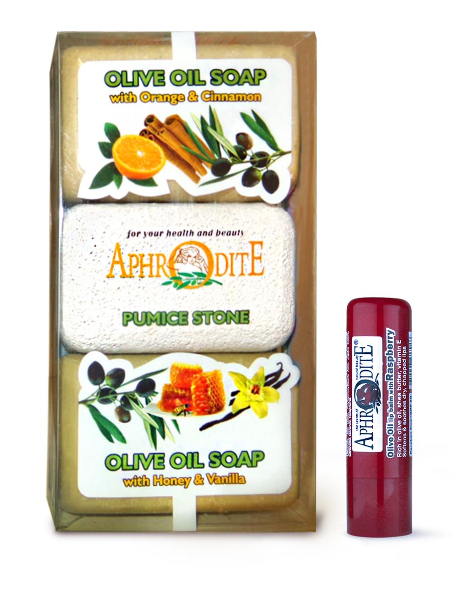 AphrOdite Косметический набор: оливковое мыло апельсин/корица/мед 260 г + пемза + гигиеническая помада с малиной 4 млZ-57B+Z-49Комплект из двух кусков оливкового мыла: медового и апельсинового. Оба мыла великолепно увлажняют и питают кожу, а также обладают волшебными ароматами ванили и корицы. Оба мыла подходят для любого типа кожи, в том числе сухой. Гигиеническая помада изготовлена по оригинальным (с соблюдением всех традиций) технологиям из натуральных ингредиентов без химических добавок. Не содержит парабенов и животных жиров, не тестируется на животных.Гигиеническая помада с органическим оливковым маслом эффективно увлажняет и питает нежную кожу губ.