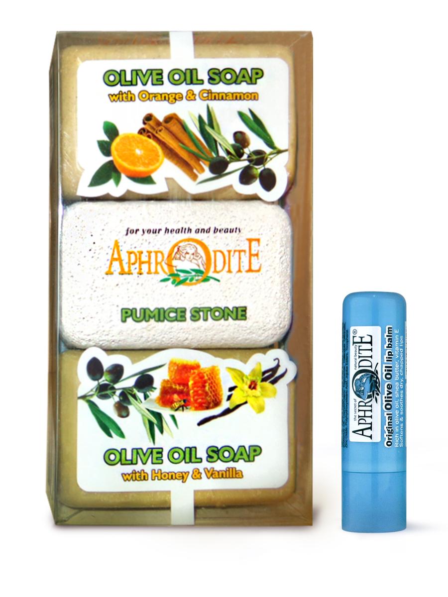 AphrOdite Косметический набор: оливковое мыло апельсин/корица/мед 260 г + пемза + гигиеническая помада 4 мл