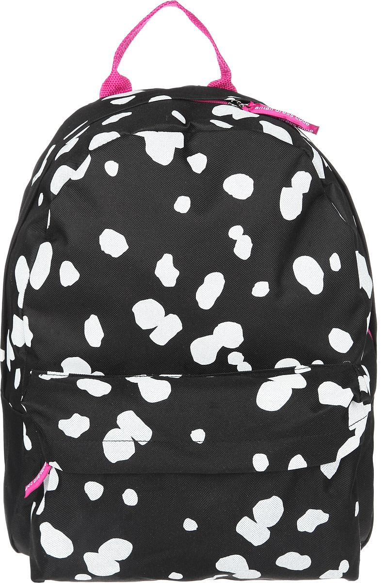 Рюкзак Antan, цвет: черный. 6-76-7Стильный рюкзак Antan изготовлен из текстиля и оформлен пятнистым принтом. Изделие содержит одно основное отделение, которое закрывается на застежку-молнию. Внутри рюкзака расположен мягкий карман для планшета. На лицевой стороне рюкзака расположен объемный карман на молнии. Изделие оснащено двумя удобными лямками регулируемой длины и петлей для подвешивания. Практичный аксессуар вместит в себя все необходимое и позволит завершить образ.