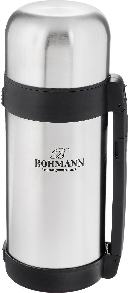 Термос Bohmann, 1,2 л. 4212BH/124212BH/12Многофункциональный термос Bohmann изготовлен из легкой и прочной нержавеющей стали с матовой полировкой. Он имеет небьющуюся внутреннюю стальную колбу и изолированную крышку с дополнительной пластиковой чашкой внутри. Двойные стенки обеспечивают сохранение температуры помещенных внутрь продуктов. В пространстве между внешней и внутренней колбой создан вакуум, благодаря чему термос еще дольше сохраняет температуру. Термос оснащен выдвигающейся ручкой и съемным ремнем для легкого переноса. Откручивающееся узкое горлышко позволяет удобно наливать жидкость, откручивающееся широкое горлышко идеально для пищи. Термос прекрасно подходит для вторых блюд, супов и напитков. Сохраняет пищу горячей несколько часов, а холодной - до 24 часов.