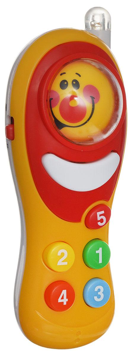 ABtoys Развивающая игрушка Интеллектуальный мобильный телефон цвет оранжевыйPT-00227_оранжевыйРазвивающая игрушка ABtoys Интеллектуальный мобильный телефон- отличная игрушка для вашего ребенка. Телефон выполнен из безопасных материалов и абсолютно не токсичен. Имеет звуковые и световые эффекты. Нажмите на кнопку смены смайлика, чтобы запустить шар. Когда он остановится, вы увидите случайный смайлик. При нажатии на каждую цветную кнопку, вы услышите различные мелодии и звуки. Малыш сможет изучить цифры и научится различать цвета. Необходимо купить 3 батарейки напряжением типа LR44 (не входят в комплект).