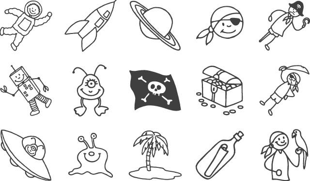 Набор штампиков Пираты+Астронавны 15 видов2048884-86Штамп для нанесения рисунка на бумагу с изображением пиратов и астронавтов (15 штук) в упаковке.