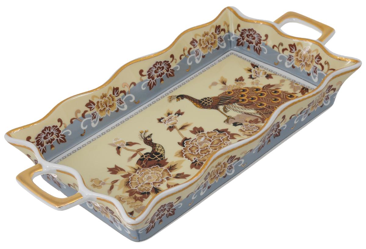 Хлебница Elan Gallery Павлин на бежевом, 30 х 14,5 х 4 см503739Изящная керамическая хлебница с ручками Elan Gallery Павлин на бежевом, прекрасно подойдет к интерьеру любой кухни. Сервировать любимый хлеб и выпечку на таком блюде - одно удовольствие. Эксклюзивный дизайн, эстетичность и функциональность хлебницы позволят ей занять достойное место среди кухонного инвентаря. Не рекомендуется применять абразивные моющие средства. Не использовать в микроволновой печи. Размер хлебницы (с учетом ручек): 30 х 14,5 х 4 см.