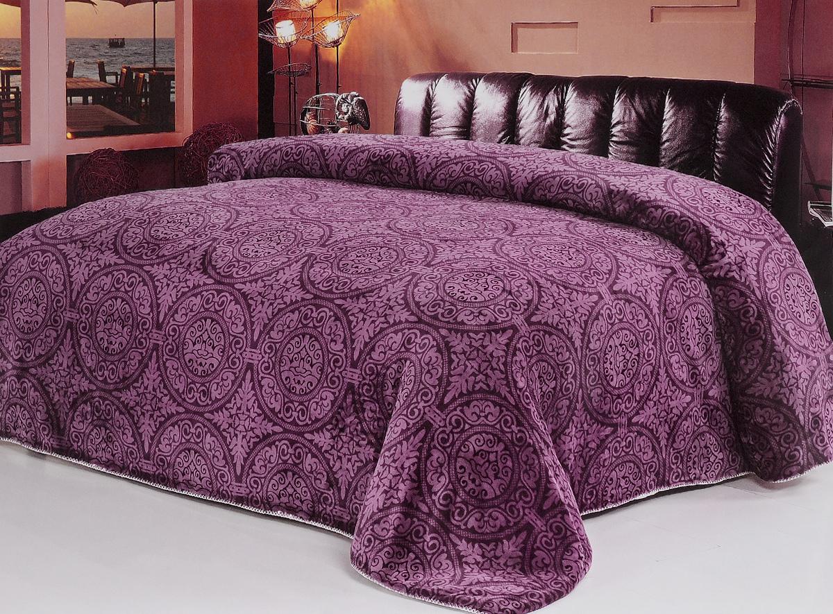 """Плед флисовый Soft Line """"SL"""", цвет: темно-фиолетовый, 200 х 220 см"""
