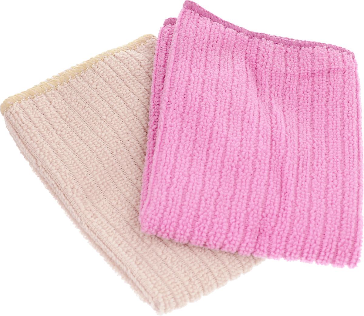 Салфетка из микрофибры Home Queen, цвет: розовый, бежевый, 30 х 30 см, 2 шт57048_розовый, бежевый без полоскиСалфетка Home Queen изготовлена из микрофибры. Это великолепная гипоаллергенная ткань, изготовленная из тончайших полимерных микроволокон. Салфетка из микрофибры может поглощать количество пыли и влаги, в 7 раз превышающее ее собственный вес. Многочисленные поры между микроволокнами, благодаря капиллярному эффекту, мгновенно впитывают воду, подобно губке. Благодаря мелким порам микроволокна, любые капельки, остающиеся на чистящей поверхности, очень быстро испаряются, и остается чистая дорожка без полос и разводов. В сухом виде при вытирании поверхности волокна микрофибры электризуются и притягивают к себе микробов, мельчайшие частицы пыли и грязи, удерживая их в своих микропорах.