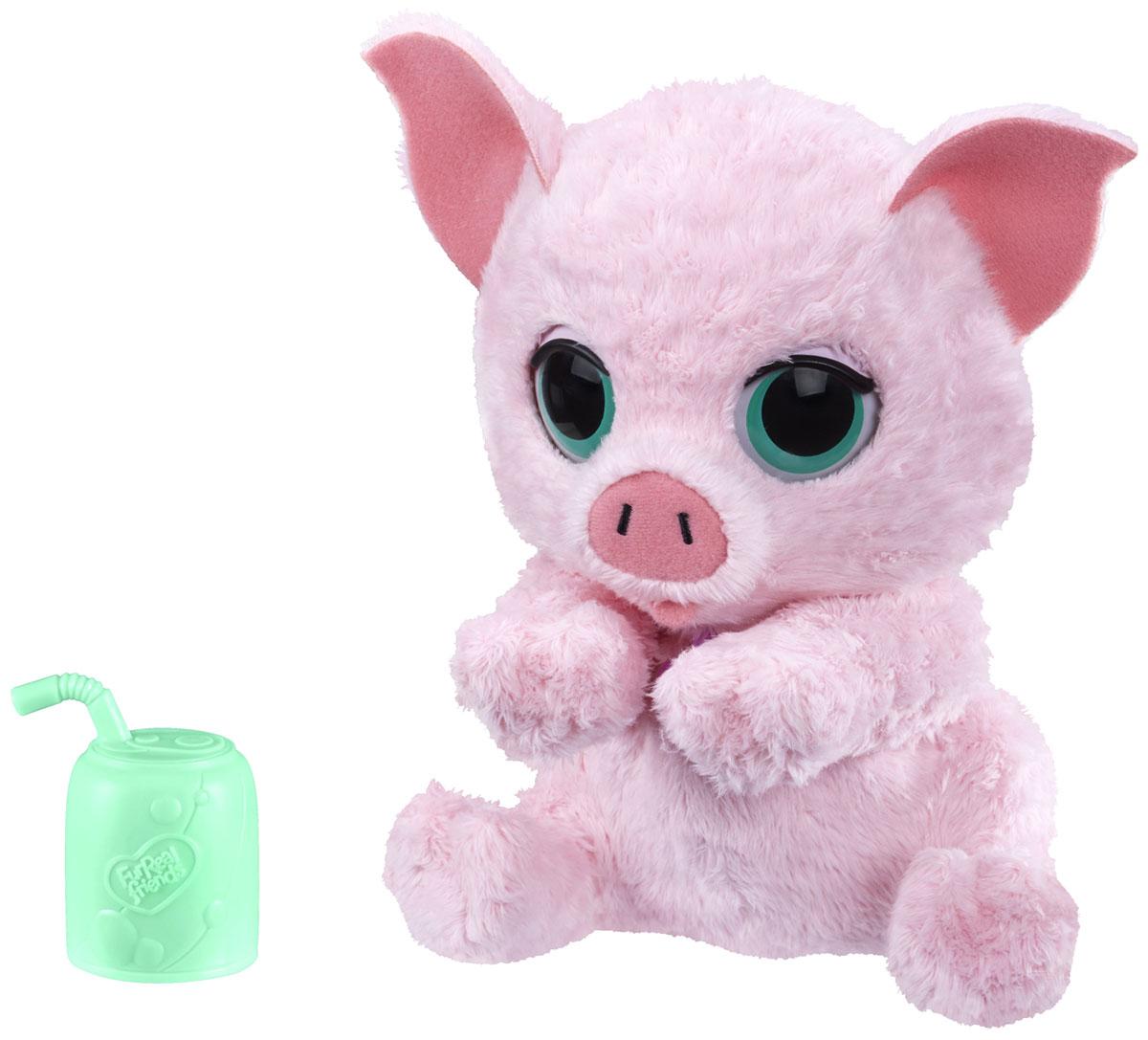 FurReal Friends Интерактивная игрушка СвинкаA9084_B4989Мягкая игрушка FurReal Friends Свинка - доброе существо, которое заставит улыбнуться любого. Она станет отличным другом для малыша. На шее у свинки висит кулон в форме сердечка. Маленькая свинка станет верным и любимым спутником ребенка, с которым он проведет много времени игры. Малышу придется заботиться о ней. А в тот момент, когда у ребенка нет настроения, свинка всегда готова выручить и развеселить его, задорно похрюкав. К свинке прилагается поильник, приложив который к ее рту, она будет издавать звуки. Рекомендуется докупить 3 батарейки напряжением 1,5V типа LR44 (товар комплектуется демонстрационными).