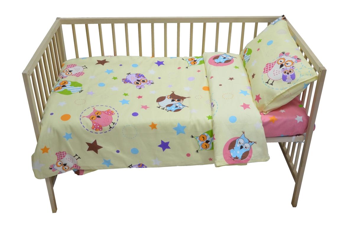 Bonne Fee Комплект белья для новорожденных Совы цвет бежевый розовый