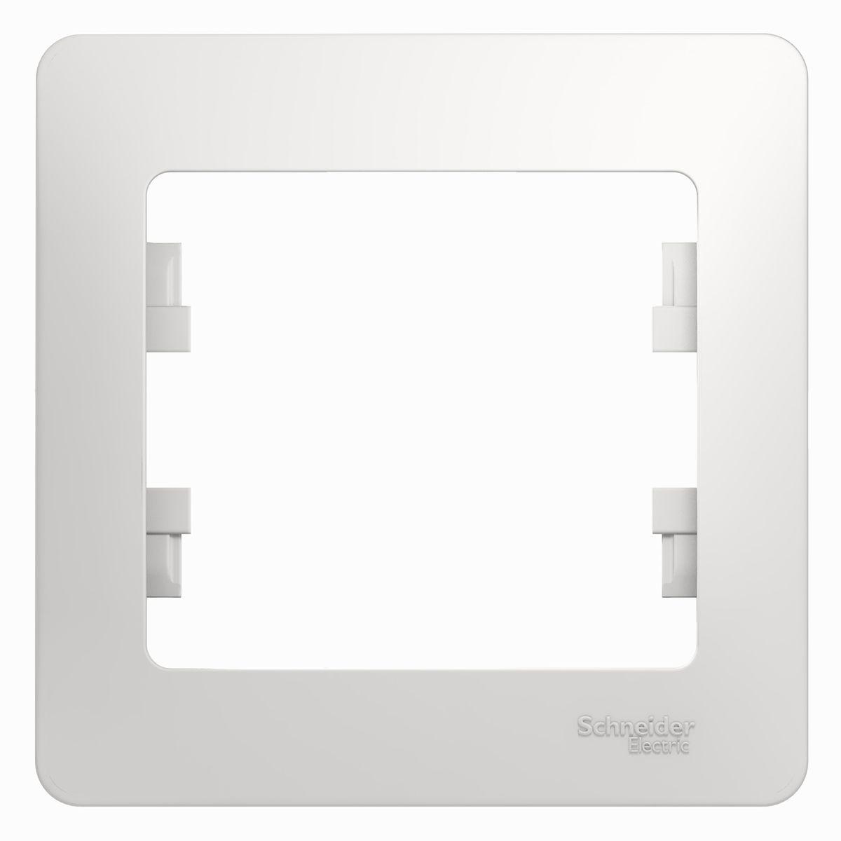 Рамка для встраиваемой розетки Schneider Electric Glossa, на 1 пост, цвет: белыйGSL000101Рамка Schneider Electric Glossa выполнена из пластика и используется для окантовки встраиваемой розетки. Рамка отвечает основным требованиям безопасности и удобства монтажа. Современный дизайн и элегантная цветовая гамма подойдут к любому интерьеру. Размер рамки: 8,5 х 8,5 х 1 см.
