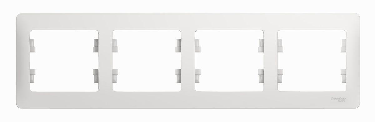 Рамка для встраиваемой розетки Schneider Electric Glossa, на 4 поста, горизонтальный монтаж, цвет: белыйGSL000104Рамка Schneider Electric Glossa выполнена из пластика и используется для окантовки встраиваемой розетки. Монтаж изделия горизонтальный. Рамка отвечает основным требованиям безопасности и удобства монтажа. Современный дизайн и элегантная цветовая гамма подойдут к любому интерьеру. Размер рамки: 29,5 х 8,5 х 1 см.