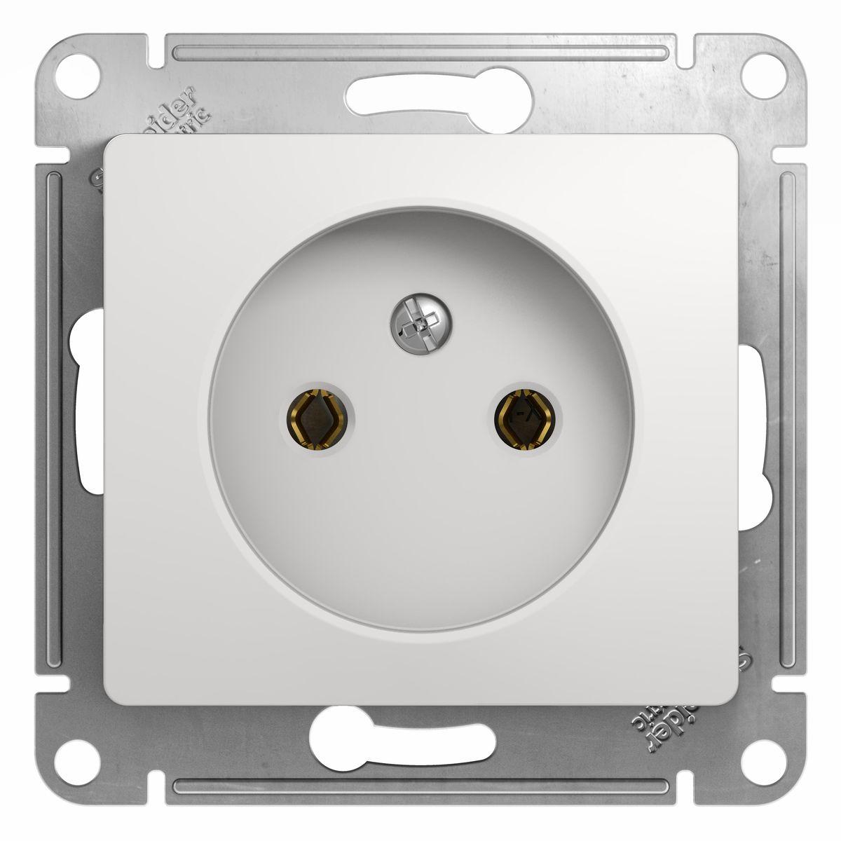 Розетка одинарная Schneider Electric Glossa, цвет: белыйGSL000141Одинарная розетка Schneider Electric Glossa без заземляющего контакта, скрытой установки, без шторок, имеет винтовые клеммы. Легкая установка. Тип розетки С (евророзетка).