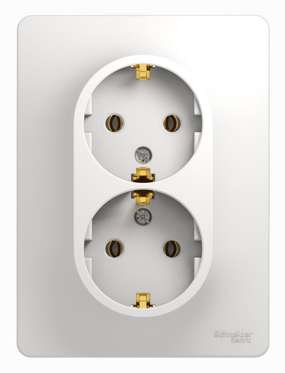 Розетка двойная Schneider Electric Glossa, с заземлением, цвет: белыйGSL000124Двойная розетка Schneider Electric Glossa с заземляющим контактом, скрытой установки, имеет винтовые клеммы. Легкая установка.