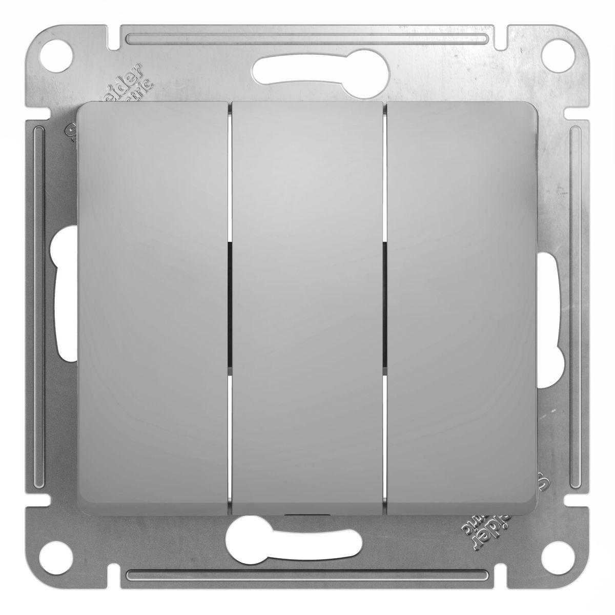 Выключатель Schneider Electric Glossa, тройной, цвет: алюминийGSL000331Тройной выключатель Schneider Electric Glossa выполнен из прочного пластика и стали. Выключатель имеет специальные фиксаторы, которые не дают ему смещаться как при монтаже, так и в процессе эксплуатации. Винтовые зажимы кабеля обеспечивают надежный монтаж к электросети с помощью отвертки. Такой выключатель станет удачным решением для дома и дачи.