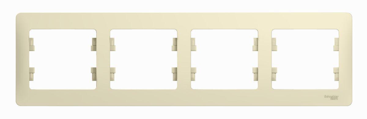 Рамка для встраиваемой розетки Schneider Electric Glossa, на 4 поста, горизонтальный монтаж, цвет: бежевыйGSL000204Рамка Schneider Electric Glossa выполнена из пластика и используется для окантовки встраиваемой розетки. Монтаж изделия горизонтальный. Рамка отвечает основным требованиям безопасности и удобства монтажа. Современный дизайн и элегантная цветовая гамма подойдут к любому интерьеру. Размер рамки: 29,5 х 8,5 х 1 см.