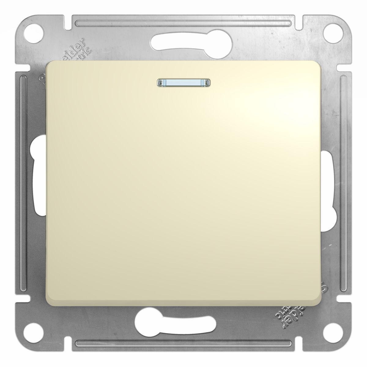 Выключатель Schneider Electric Glossa, с подсветкой, цвет: бежевыйGSL000213Одноклавишный выключатель Schneider Electric Glossa предназначен для скрытой установки и выполнен из прочного пластика и стали. Световой индикатор на клавише поможет вам разглядеть его даже в темноте. Выключатель имеет специальные фиксаторы, которые не дают ему смещаться как при монтаже, так и в процессе эксплуатации. Винтовые зажимы кабеля обеспечивают надежную установку к электросети с помощью отвертки. Такой выключатель станет удачным решением для дома и дачи.
