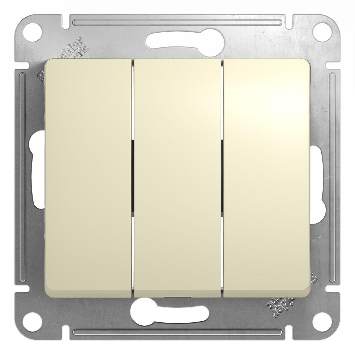 Выключатель Schneider Electric Glossa, тройной, цвет: бежевыйGSL000231Тройной выключатель Schneider Electric Glossa выполнен из прочного пластика и стали. Выключатель имеет специальные фиксаторы, которые не дают ему смещаться как при монтаже, так и в процессе эксплуатации. Винтовые зажимы кабеля обеспечивают надежный монтаж к электросети с помощью отвертки. Такой выключатель станет удачным решением для дома и дачи.